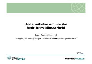 Undersøkelse om norske bedrifters klimaarbeid