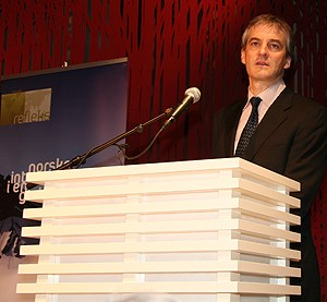 Foreign Minister Støre during his statement at the Freedom of Expression meeting in Oslo. Photo: Pierre de Brisis, MFA