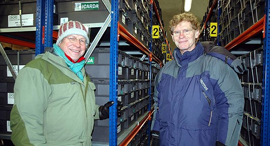 Svalbard Global Seed Vault: Minister of Agriculture and Food Lars Peder Brekk and executive director of Global Crop Diversity Trust, Cary Fowler.