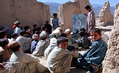 "Picture: Afghan children gathered during the ""day of peace"" 21 September 2008. Photo: WFP"