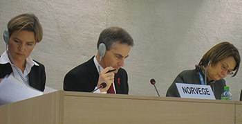 Norwegian trio listen to questions and comments during the UPR-hearing.