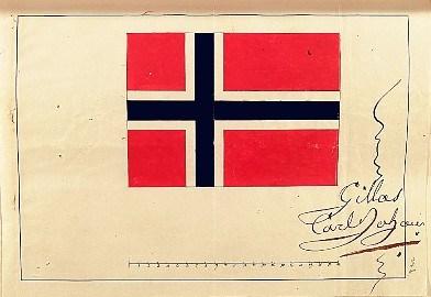 73eb90cf Kong Karl Johans godkjenning av det norske flagg, 1821